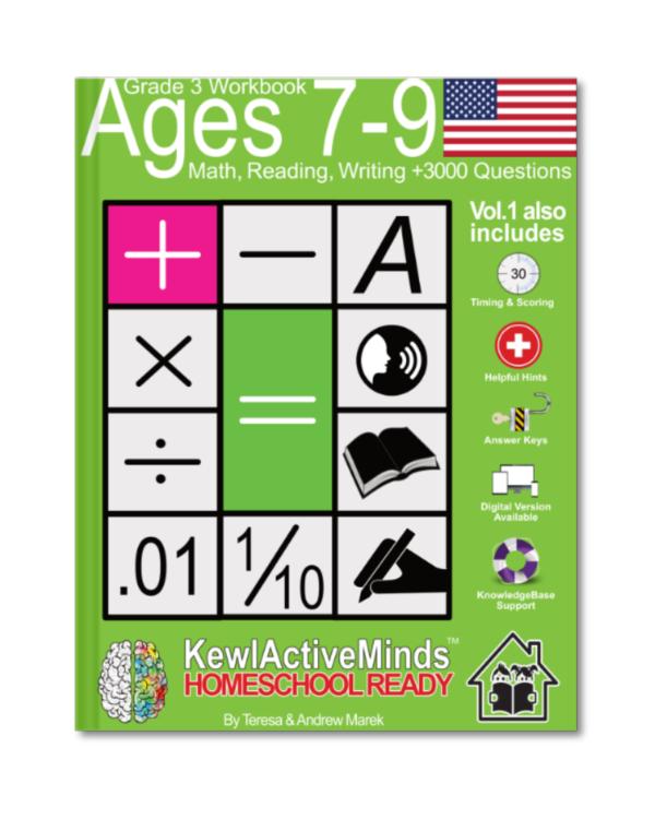omeSchool Ready Grade 3 Workbook American Edition Math Reading Writing