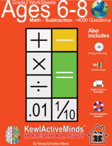 KewlActiveMinds Grade 2 Ages 6-8 Worksheets Math Subtraction