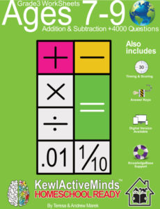 KewlActiveMinds Grade 3 Ages 7-9 Worksheets Math Addition and Subtraction