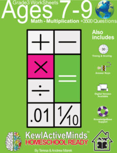 KewlActiveMinds Grade 3 Ages 7-9 Worksheet Math Multiplication