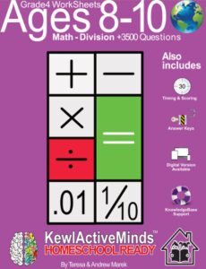 KewlActiveMinds Grade 4 Ages 8-10 Worksheets Math Division
