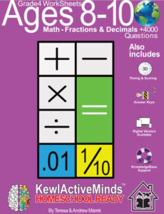 KewlActiveMinds Grade 4 Ages 8-10 Worksheets Math Fractions and Decimals