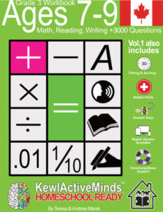 KewlActiveMinds Grade 3 Ages 7-9 Workbook English Canadian Canada Content