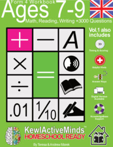 KewlActiveMinds Form 4 Ages 7-9 Workbook UK British Content