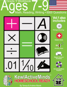 KewlActiveMinds Grade 3 Workbook USA American Content