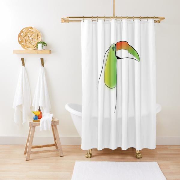 KewlActiveMinds Pura Vida Toucan Shower Curtain 1