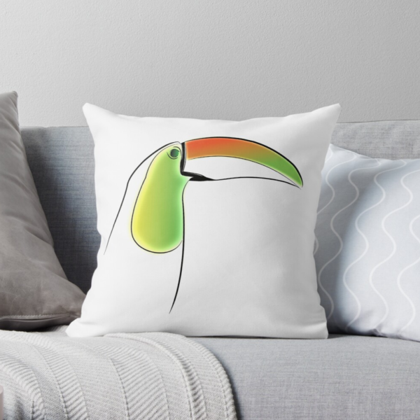 KewlActiveMinds Pura Vida Toucan Throw Pillow 1