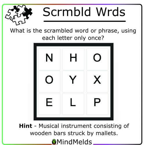 Daily Scrambled Word Puzzle Mindmelds - Brainteaser Brain Game